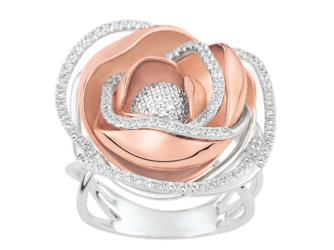 Bague Coeur de Rose Or Blanc/Or Rose et Diamants