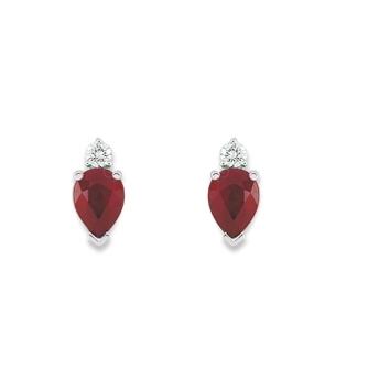 Boucles d'oreille rubis diamants