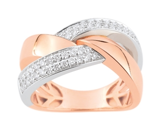 Bague Or Blanc/Or Rose et Diamants
