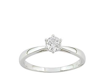 bague solitaire or 750 blanc diamant